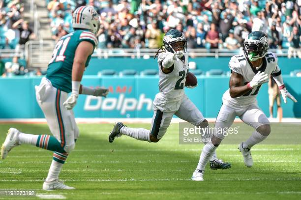 Ronald Darby of the Philadelphia Eagles returns an interception during the first quarter against the Miami Dolphins at Hard Rock Stadium on December...