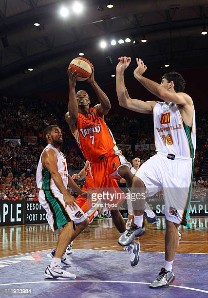 Ronald Dorsey of the Taipans drives with the ball during game two of the NBL Semi Final Series between the Townsville Crocodiles and the Cairns...