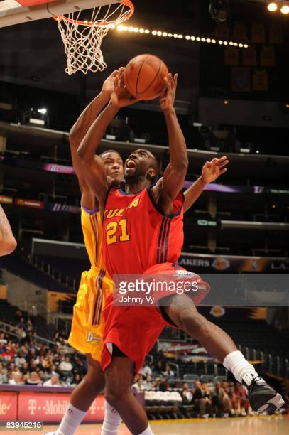 Ronald Dupree of the Tulsa 66ers goes up for a shot during the game against the Los Angeles DFenders at Staples Center on December 7 2008 in Los...
