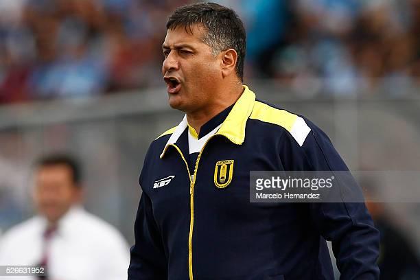 Ronald Fuentes head coach of Universidad de Concepcion gives instructions to his players during a match between O'Higgins and U de Concepcion as part...