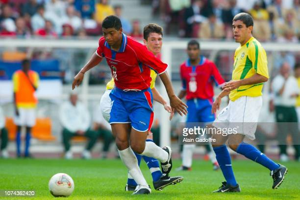 Ronald GOMEZ and ANDERSON POLGA during the 2002 FIFA World Cup match between Costa Rica and Brazil on June 13 2002 in Suwon Stadium South Korea