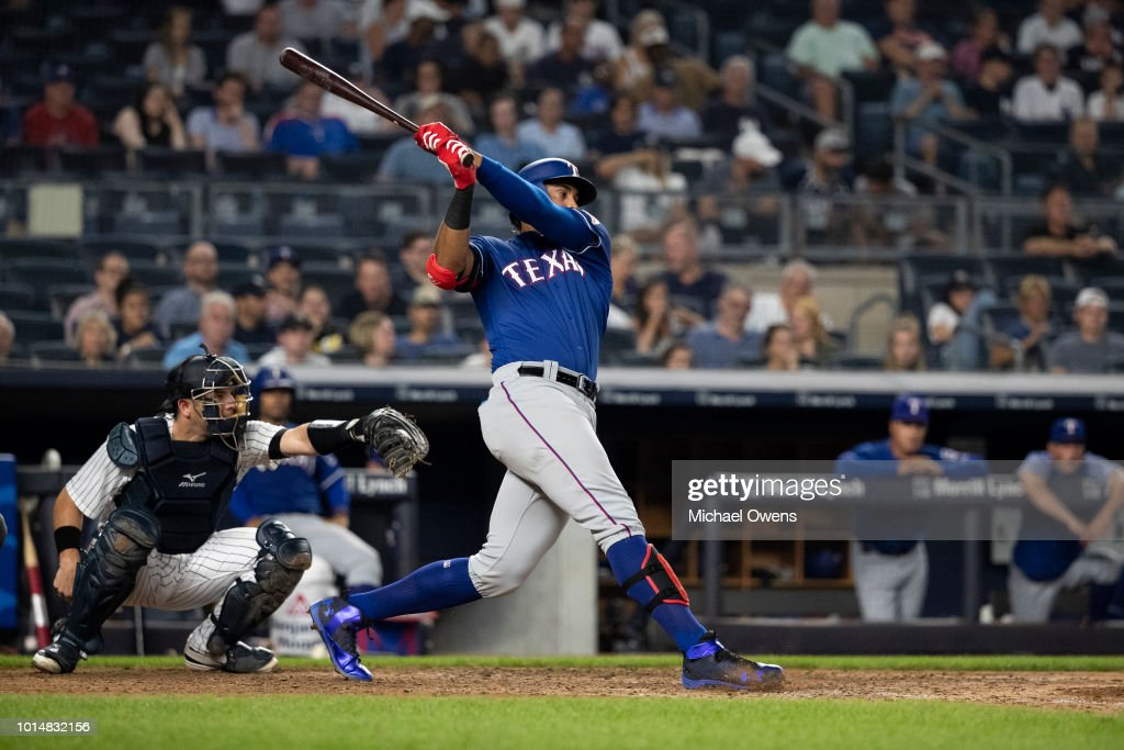 Ronald Guzman #67 of the Texas Rangers at bat against the New York Yankees during their game at Yankee Stadium on August 10, 2018 in New York City.