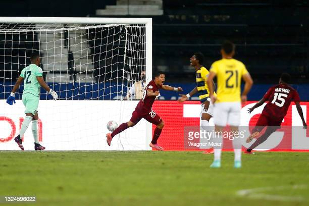 Ronald Hernandez of Venezuela celebrates after scoring the second goal of his team during a Group B match between Venezuela and Ecuador as part of...