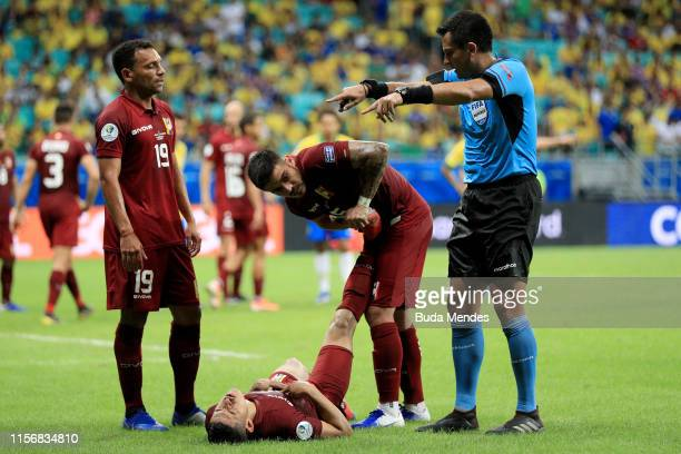 Ronald Hernandez of Venezuela reacts after an injury during the Copa America Brazil 2019 group A match between Brazil and Venezuela at Arena Fonte...