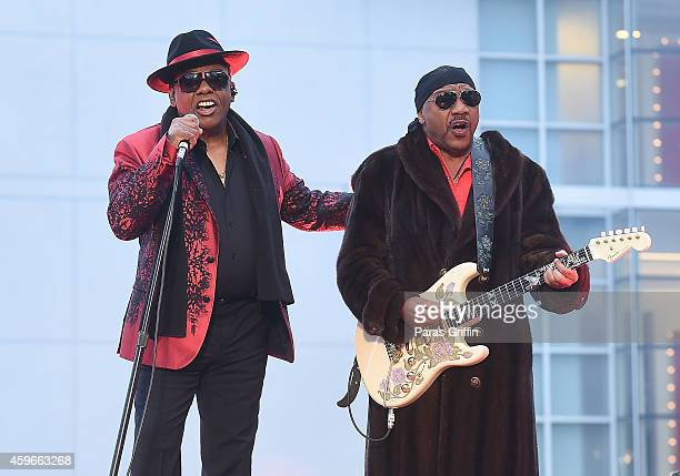 Ronald Isley and Ernie Isley of the Isley Brothers perform onstage at Macy's 67th Annual Great Tree Lighting at Macy's Lenox Square on November 27...