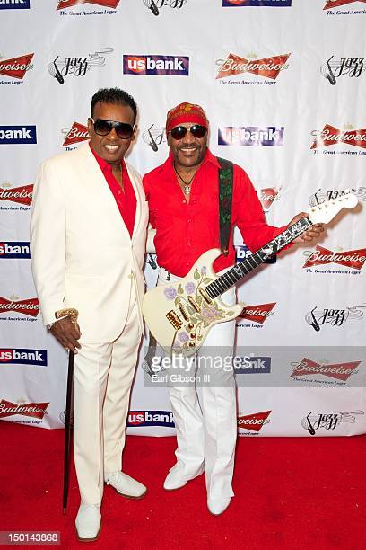 Ronald Isley and Ernie Isley pose for a photo on the opening night of The Long Beach Jazz Festival on August 10, 2012 in Long Beach, California.