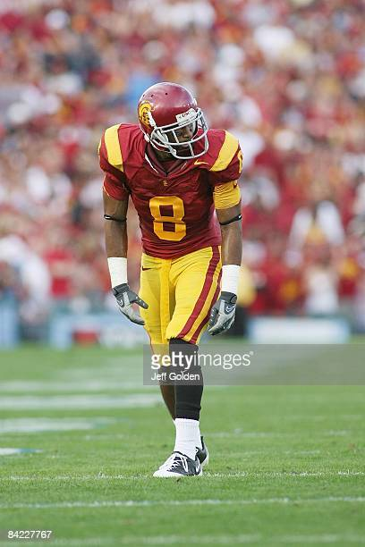 Ronald Johnson of the USC Trojans lines up against the UCLA Bruins on December 6, 2008 at the Rose Bowl in Pasadena, California. USC won 28-7.