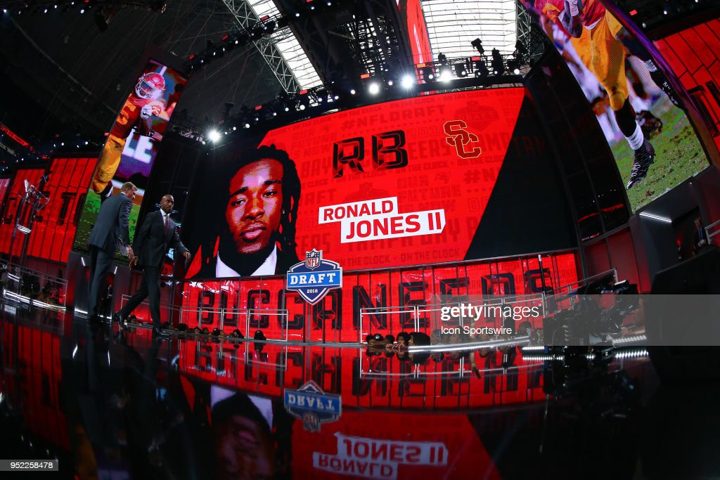 Ronald Jones II on the video screen after being chosen by the Indianapolis Colts with the 38th pick during the second round of the 2018 NFL Draft on April 27, 2018, at AT&T Stadium in Arlington, TX.