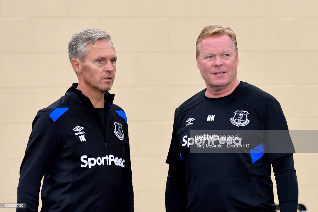 Ronald Koeman (R) and Jan Kluitenberg of Everton returns to training at USM Finch Farm on July 3, 2017 in Halewood, England.