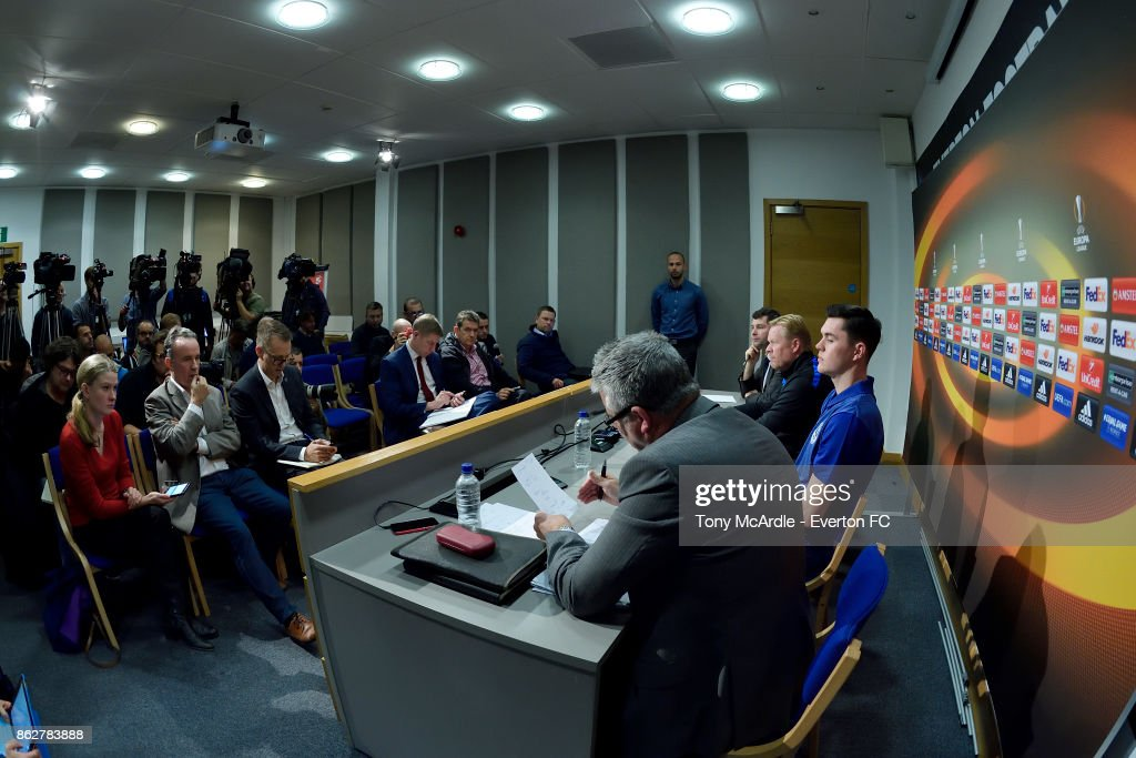 Ronald Koeman and Michael Keane (R) speak to the press during the Everton press conference at USM Finch Farm on October 18, 2017 in Halewood, England.