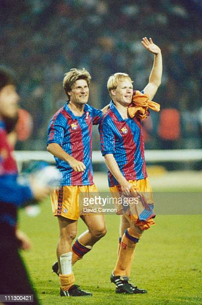 Ronald Koeman and Michael Laudrup of Barcelona after their team beat Sampdoria 1-0 to win the European Cup Final at Wembley Stadium, London, 20th May...