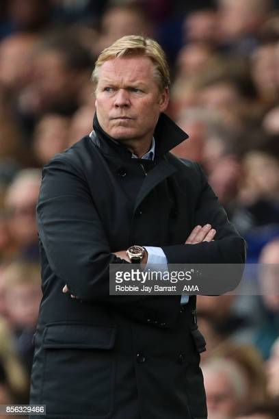 Ronald Koeman head coach / manager of Everton during the Premier League match between Everton and Burnley at Goodison Park on October 1 2017 in...
