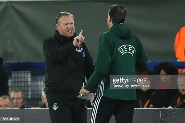 Ronald Koeman head coach / manager of Everton has a disagreement with the fourth official during the UEFA Europa League group E match between Everton...