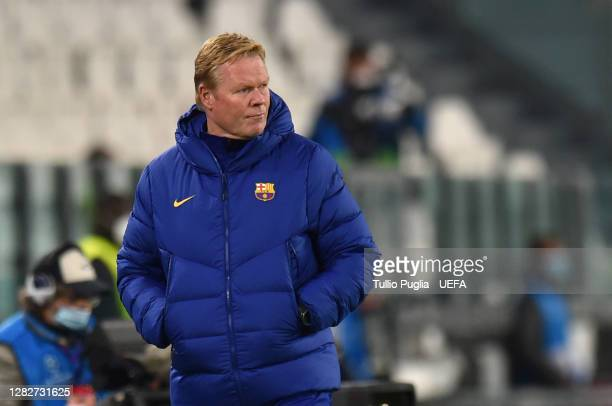 Ronald Koeman, Head Coach of Barcelona look on during the UEFA Champions League Group G stage match between Juventus and FC Barcelona at Juventus...