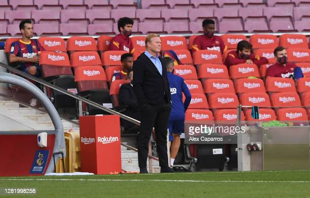 Ronald Koeman, Head Coach of Barcelona looks on during the La Liga Santander match between FC Barcelona and Real Madrid at Camp Nou on October 24,...