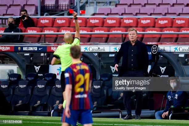 Ronald Koeman, head coach of FC Barcelona is seen a red card during the La Liga Santander match between FC Barcelona and Granada CF at Camp Nou on...