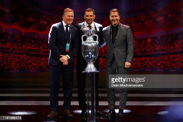 Ronald Koeman, Head coach of the Netherlands, Andriy Shevchenko, Head Coach of Ukraine, and Franco Foda, Head Coach of Austria pose for a photo with...