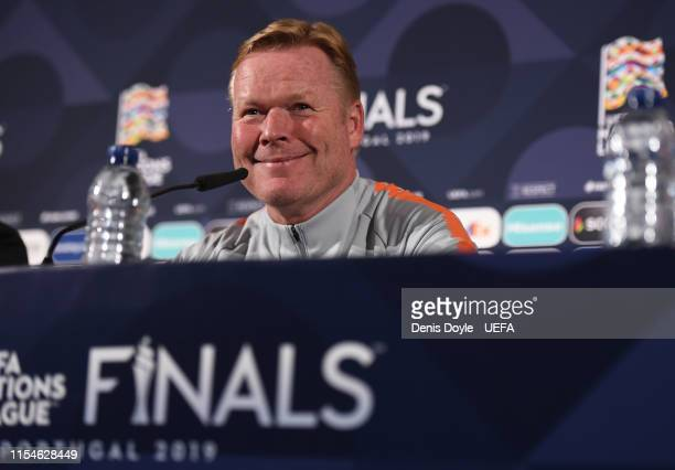 Ronald Koeman, head coach of the Netherlands holds a press conference at Estadio do Dragao on June 8, 2019 in Porto, Portugal. The Netherlands play...
