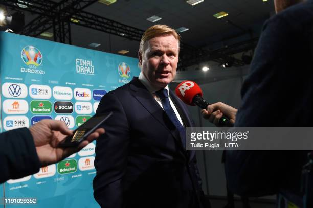 Ronald Koeman head coach of the Netherlands meets press members after the UEFA Euro 2020 Final Draw Ceremony on November 30 2019 in Bucharest Romania