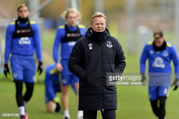 Ronald Koeman leads his team during the Everton FC training session at Finch Farm on November 3 2016 in Halewood England