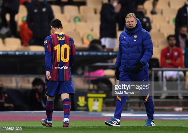 Ronald Koeman, Manager of Barcelona reacts as Lionel Messi of Barcelona walks off the field after being shown a red card during the Supercopa de...