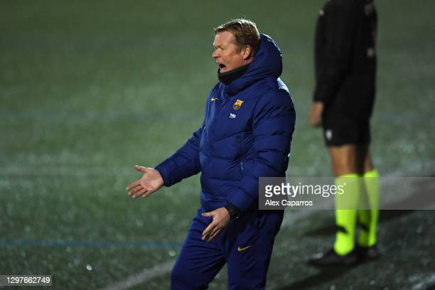 Ronald Koeman, Manager of Barcelona reacts during the Copa del Rey match between Cornella and FC Barcelona on January 21, 2021 in Barcelona, Spain....