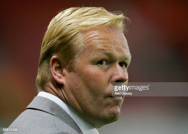 Ronald Koeman manager of Benfica watches the UEFA Champions League Group D match between Manchester United and Benfica at Old Trafford on September...