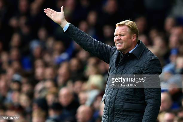 Ronald Koeman Manager of Everton gestures from the sideline during the Premier League match between Everton and Arsenal at Goodison Park on October...