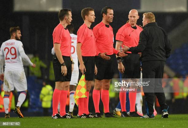 Ronald Koeman Manager of Everton in discussion with referee Bas Nijhuis and officials after the UEFA Europa League Group E match between Everton FC...
