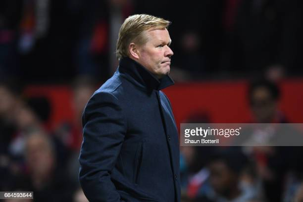 Ronald Koeman Manager of Everton looks dejected during the Premier League match between Manchester United and Everton at Old Trafford on April 4,...