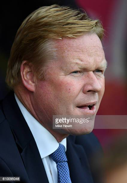 Ronald Koeman manager of Everton looks on prior to the Premier League match between Stoke City and West Bromwich Albion at the Bet365 Stadium on...