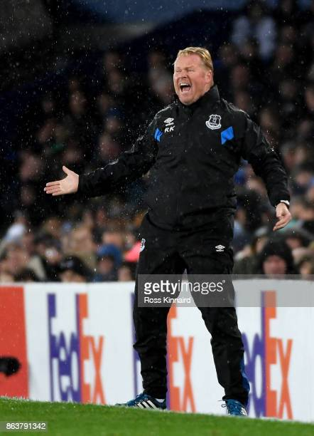 Ronald Koeman Manager of Everton reacts during the UEFA Europa League Group E match between Everton FC and Olympique Lyon at Goodison Park on October...