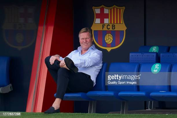 Ronald Koeman, Manager of FC Barcelona looks on prior to the pre-season friendly match between FC Barcelona and Girona at Estadi Johan Cruyff on...