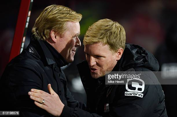 Ronald Koeman manager of Southampton and Eddie Howe Manager of Bournemouth greet prior to the Barclays Premier League match between AFC Bournemouth...
