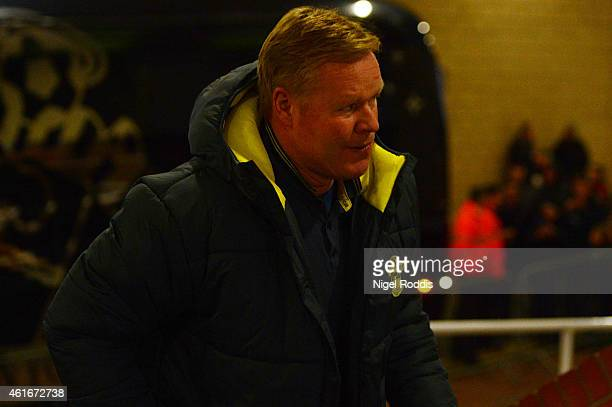 Ronald Koeman manager of Southampton arrives for the Barclays Premier League match between Newcastle United and Southampton at St James' Park on...