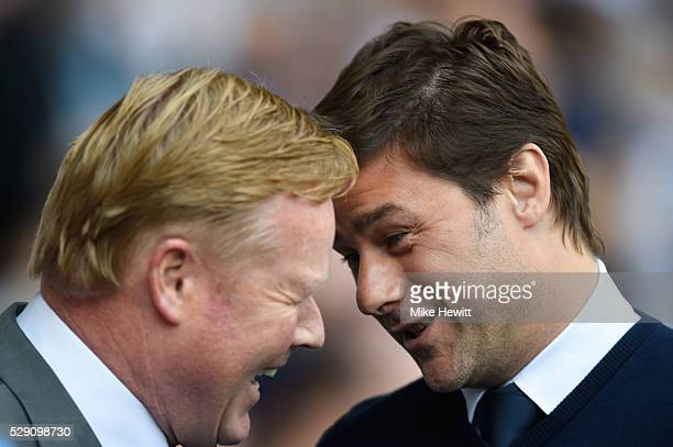 Ronald Koeman manager of Southampton greats Mauricio Pochettino the manager of Tottenham Hotspur during the Barclays Premier League match between...
