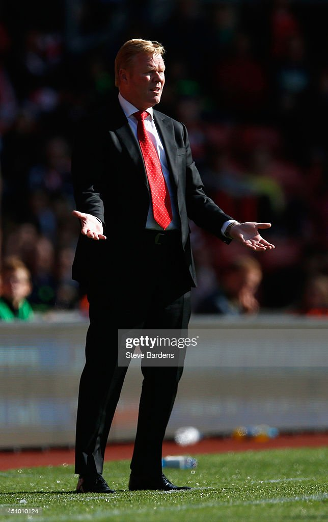 Ronald Koeman, manager of Southampton looks on during the Barclays Premier League match between Southampton and West Bromwich Albion at St Mary's Stadium on August 23, 2014 in Southampton, England.