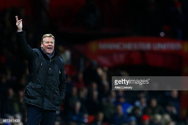 Ronald Koeman manager of Southampton reacts on the touchline during the Barclays Premier League match between Manchester United and Southampton at...