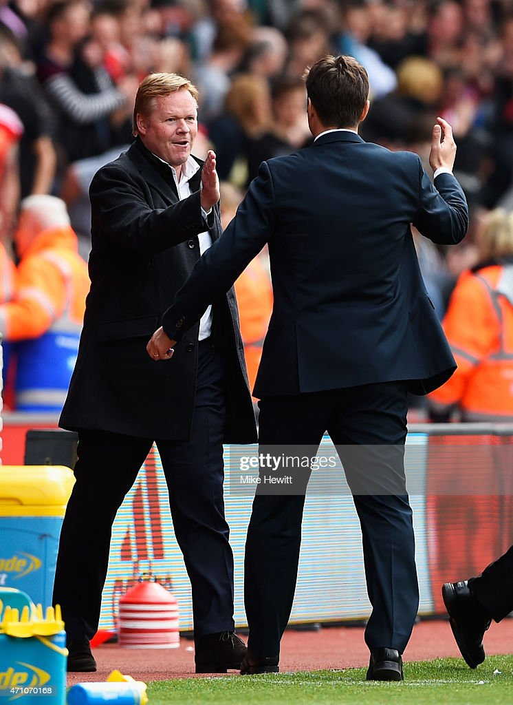Ronald Koeman manager of Southampton shakes hands with Manager Mauricio Pochettino of Spurs during the Barclays Premier League match between Southampton and Tottenham Hotspur at St Mary's Stadium on April 25, 2015 in Southampton, England.