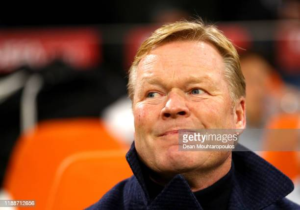Ronald Koeman Manager of The Netherlands looks on prior to the UEFA Euro 2020 Qualifier between The Netherlands and Estonia on November 19 2019 in...