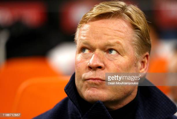 Ronald Koeman, Manager of The Netherlands looks on prior to the UEFA Euro 2020 Qualifier between The Netherlands and Estonia on November 19, 2019 in...