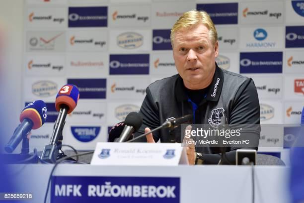 Ronald Koeman of Everton speaks to the press as Everton visit MFK Ruzomberok's Stadium on August 2 2017 in Ruzomberok Slovakia