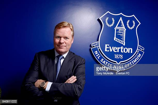 Ronald Koeman poses for a photo after his first press conference as Everton manager at Finch Farm on June 17 2016 in Halewood England