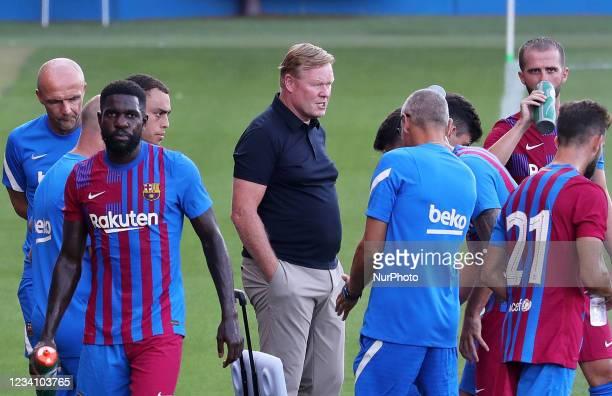 Ronald Koeman, Samuel Umtiti and Miralem Pjanic during the friendly match between FC Barcelona and Club Gimnastic de Tarragona, played at the Johan...