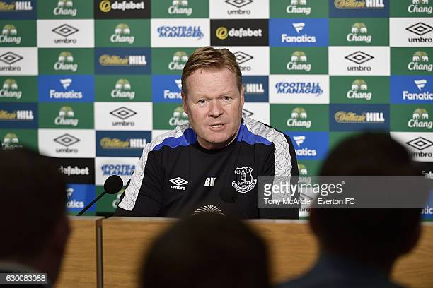 Ronald Koeman speaks to the press during the Everton FC press conference at Finch Farm on December 16 2016 in Halewood England