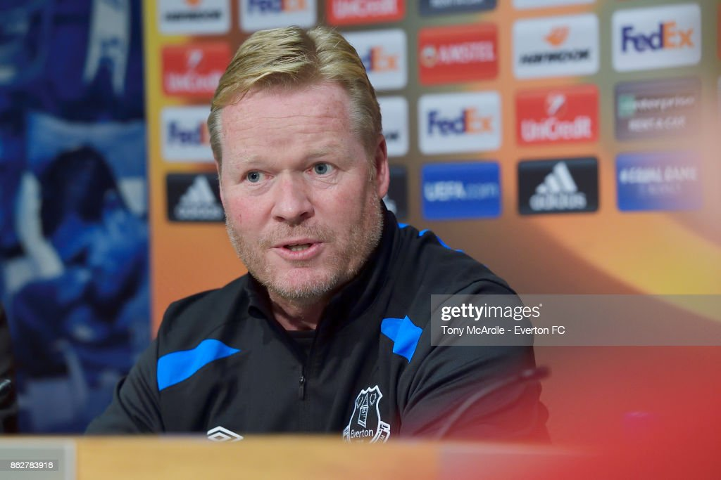Ronald Koeman speaks to the press during the Everton press conference at USM Finch Farm on October 18, 2017 in Halewood, England.