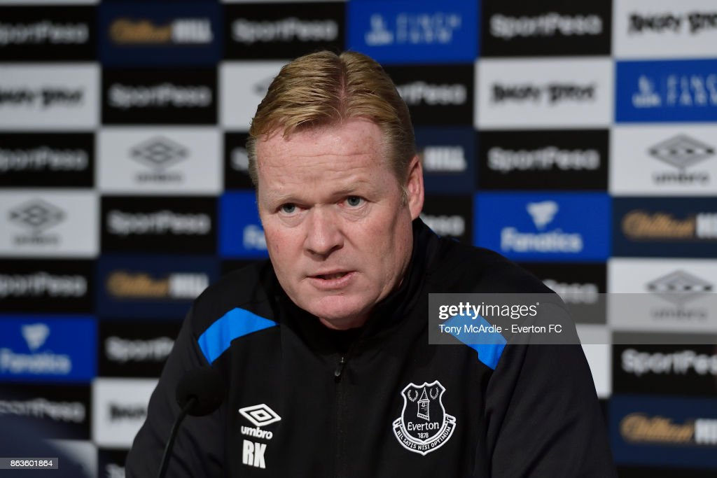 Ronald Koeman speaks to the press during the Everton press conference at USM Finch Farm on October 20, 2017 in Halewood, England.