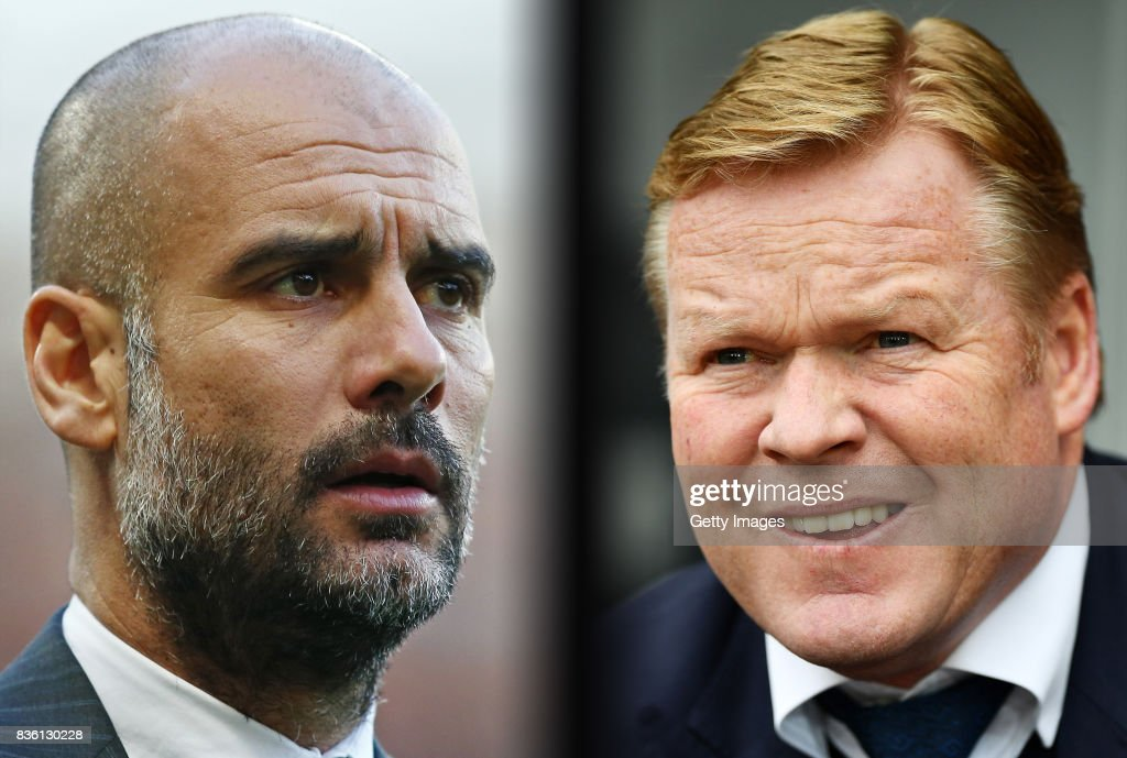 IMAGES - Image numbers (L) 630793716 and 679674950) In this composite image a comparision has been made between Josep Guardiola, (L) Manager of Manchester City and Ronald Koeman, Manager of Everton. Manchester City and Everton meet in a Premier League match at the Etihad Stadium on August 21, 2017 in Manchester,England. SWANSEA, WALES - MAY 06: Ronald Koeman the Everton manager looks on during the Premier League match between Swansea City and Everton at the Liberty Stadium on May 6, 2017 in Swansea, Wales.