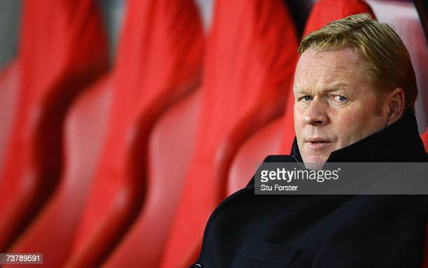 Ronald Koeman the manager of PSV looks on during the UEFA Champions League quarter final first leg match between PSV Eindhoven and Liverpool at the...