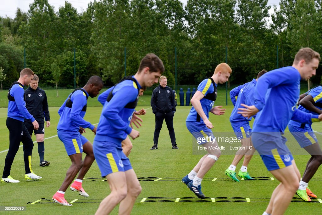 Ronald Koeman watches his team during the Everton FC training session at USM Finch Farm on May 19, 2017 in Halewood, England.